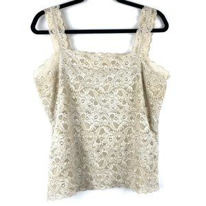 SIGRID OLSEN Women's Cream Lace Tank Top - Size L